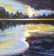 SUMMER LIGHTS ACROSS THE RIVER 10x10
